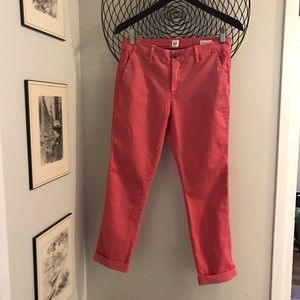 Cute salmon naturally faded look ankle pants.